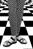 B&W slacks & Shoes on W&B tile background